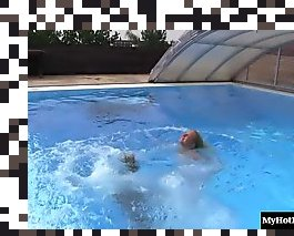 teen lesbian swimming in pool
